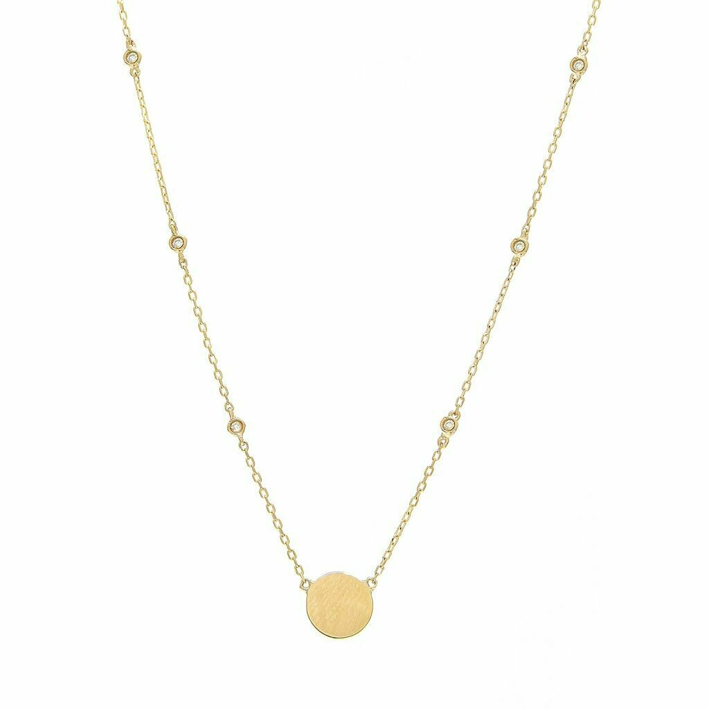 14k Yellow Gold Disk Single Bezel Diamond Necklace
