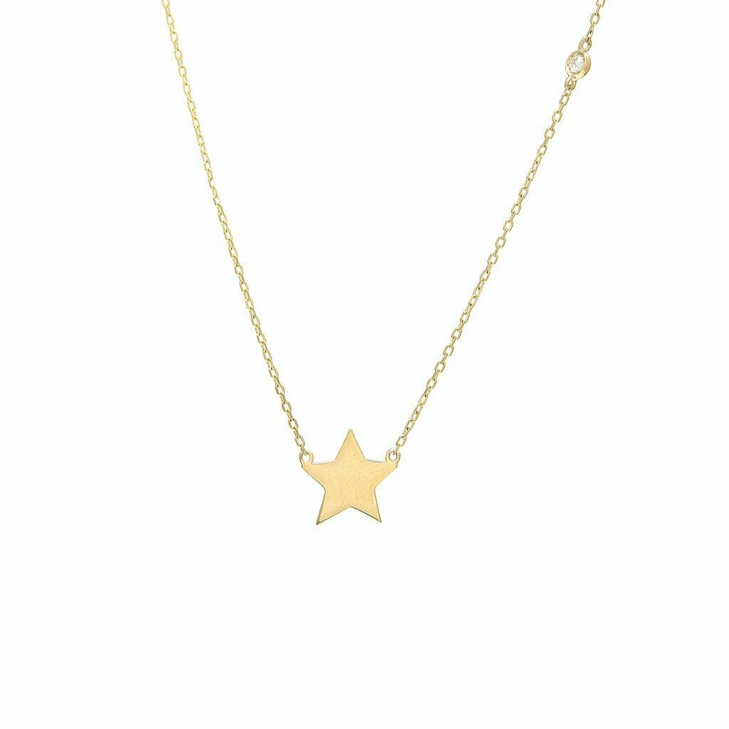 14k Yellow Gold Star Single Bezel Diamond Necklace
