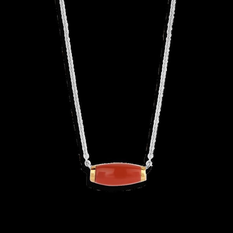 Coral Red stone Ti Sento- Milano silver necklace