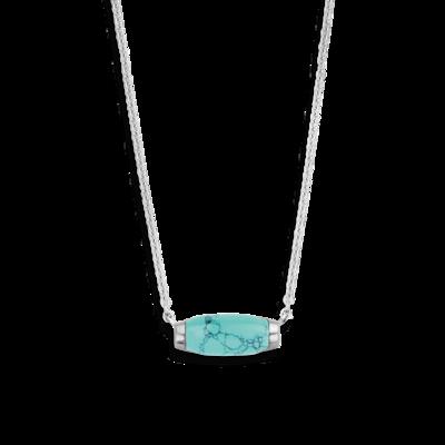 Turquoise Stone Ti-Sento Milano Silver Necklace 3942TQ