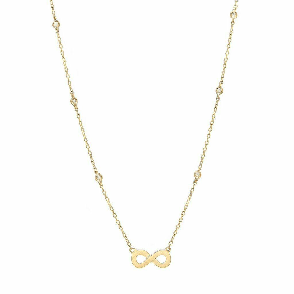14K Yellow Gold Diamond By The Yard Single Bezel Diamond Necklace