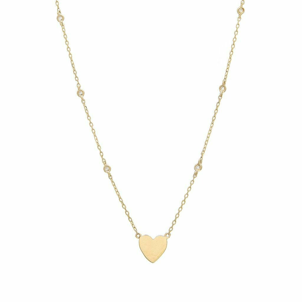 14K Yellow Gold Heart Single Bezel Diamond Necklace