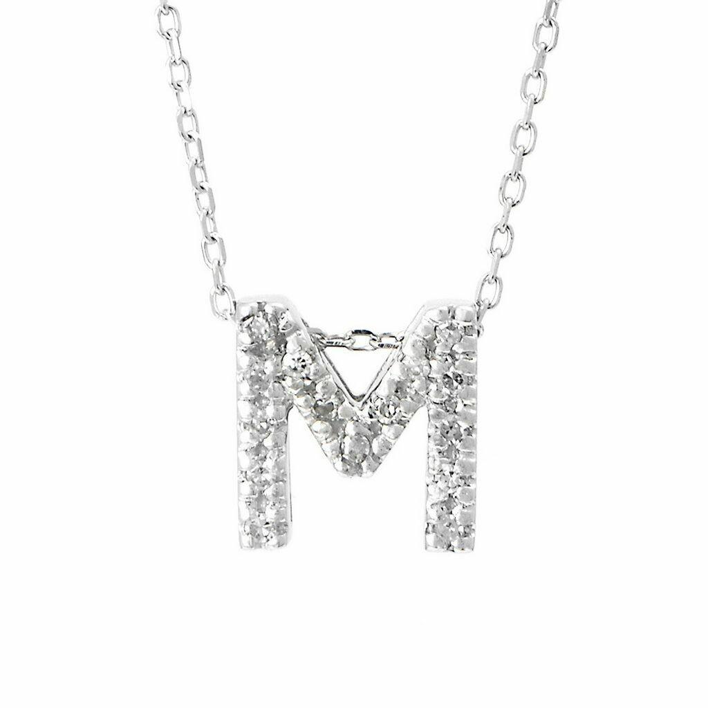 14K White Gold Initial Single Micro Pave Diamond Necklace