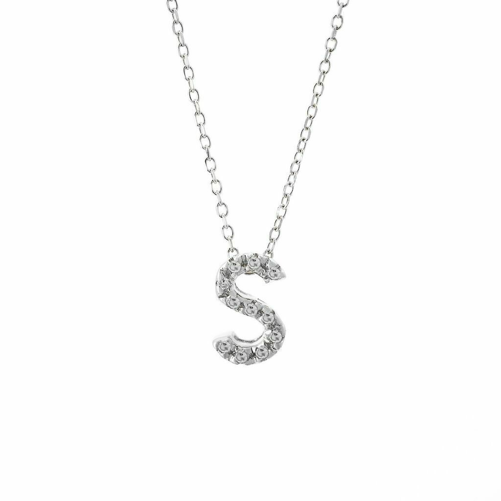 14K White Gold Initial Single Micro Pave Diamond Necklace