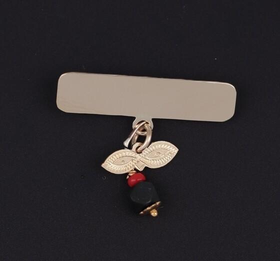 14KYG Azabache Pin with Santa Lucia Eye