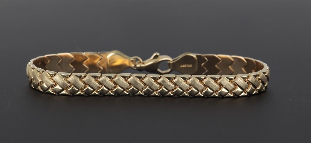 14k Woven link sand/polish design Bracelet
