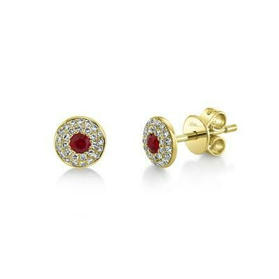 0.17CT DIAMOND & 0.16CT RUBY STUD EARRING