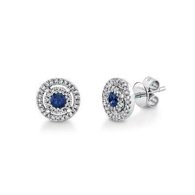 0.16CT DIAMOND & 0.26CT BLUE SAPPHIRE STUD EARRING
