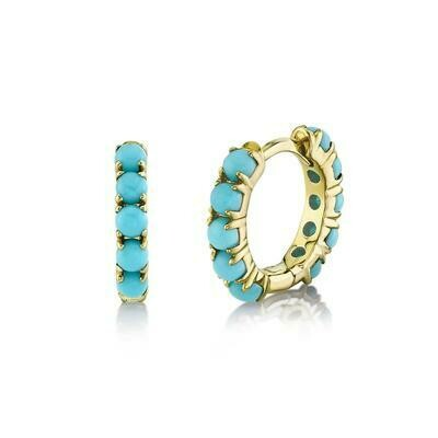 0.72CT COMPOSITE TURQUOISE HUGGIE EARRING