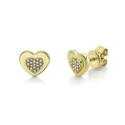0.06CT DIAMOND HEART STUD EARRING