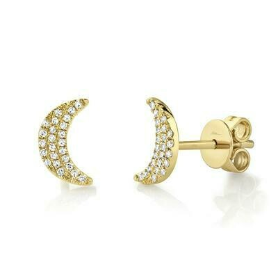 0.11CT DIAMOND CRESCENT MOON STUD EARRING