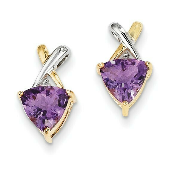 14k and Rhodium Amethyst and White Topaz Trillion Post Earrings