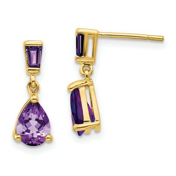 14k Gold Amethyst Dangle Post Earrings