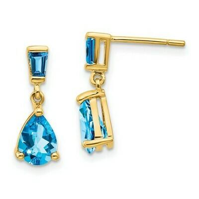 14k Gold Blue Topaz Dangle Post Earrings