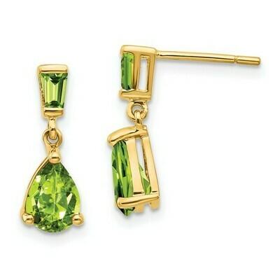 14k Gold Peridot Dangle Post Earrings