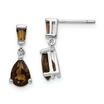 14k White Gold Smoky Quartz Dangle Post Earrings
