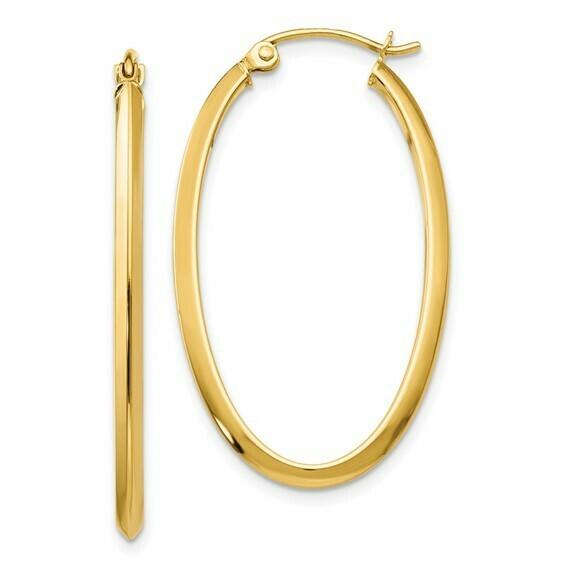 14k 2mm Oval Hoop Earrings