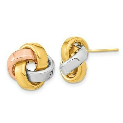 14k Yellow Gold with White and Rose Rhod Pol Love Knot Post Earrings