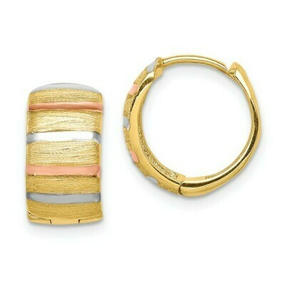 14K with White and Rose Rhodium Hoop Earrings