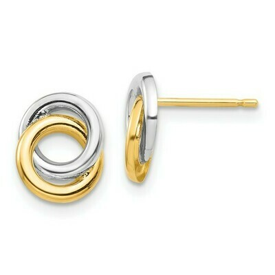 14k and White Rhodium Circles Post Earrings
