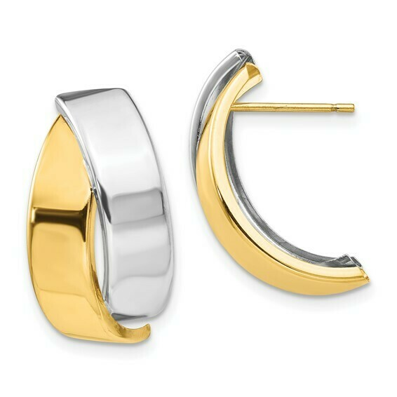 14k Two-tone Polished Post Earrings