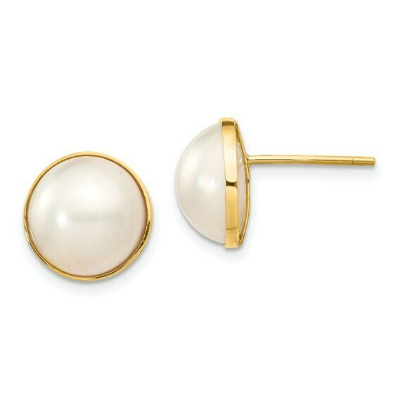 14k 9-10mm White Freshwater Cultured Mabe Pearl Post Earrings