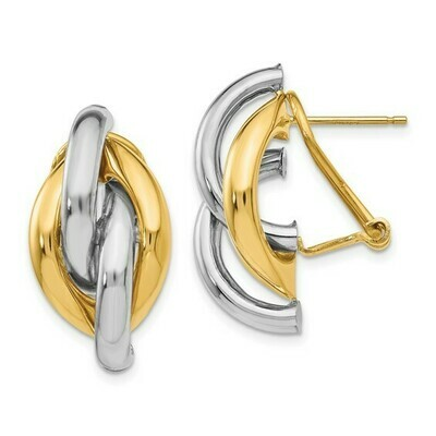 14k Two-tone Swirl Omega Back Post Earrings