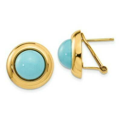 14k Omega Clip Reconstituted Turquoise Earrings