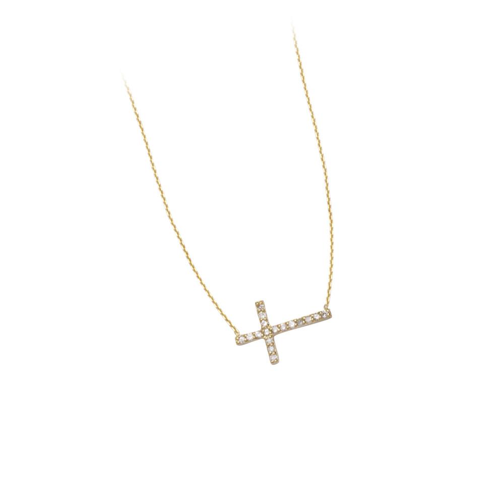 Sideways Cross Adjustable Necklace