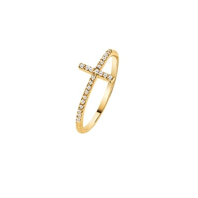 Sideways Cross Diamond Ring