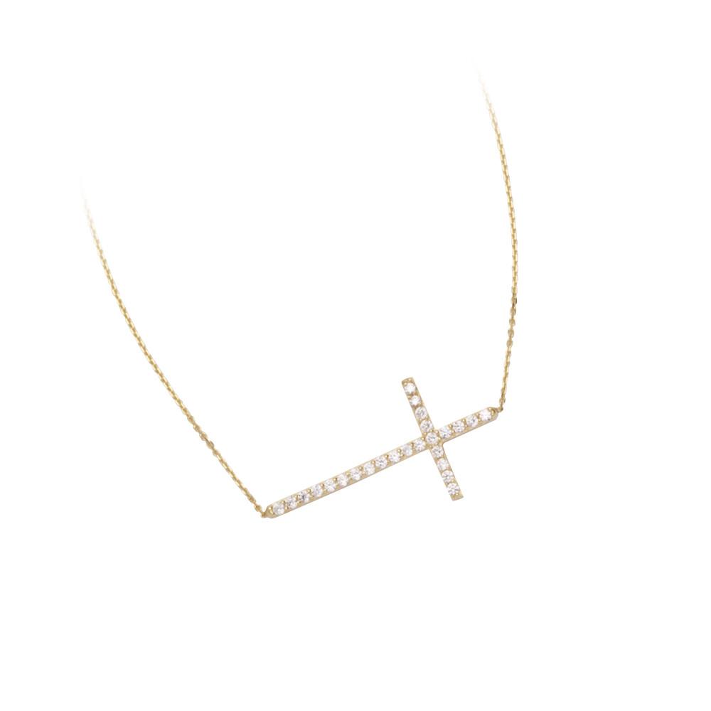 Sideways CZ Cross Adjustable Necklace