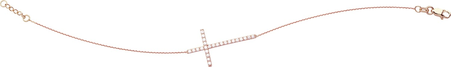 Sideways CZ Cross Bracelet