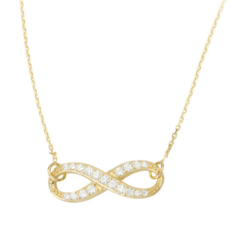 Crossed CZ Infinity Adjustable Necklace