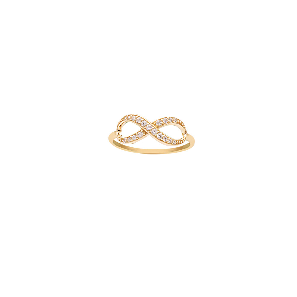 Crossed CZ Infinity Ring