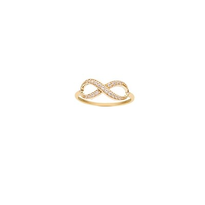 Crossed CZ Infinity Ring