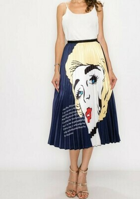 Lady Face Pleated Skirt Yellow