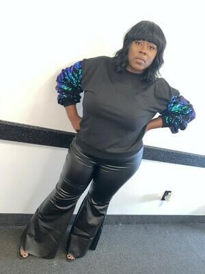 Black Faux Leather Wide Leg Pants