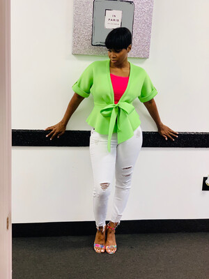 Peplum Top - Lime