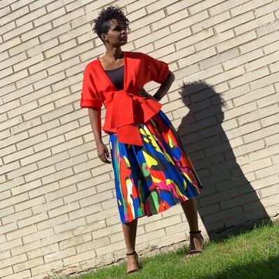 Martha Multi Blue Pleated Skirt