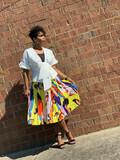 Martha Multi Yellow Pleated Skirt