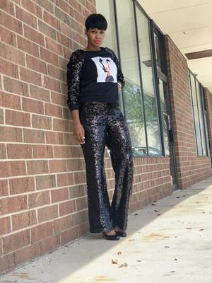 Sequin Black Pants