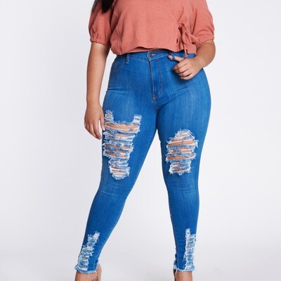 Medium Blue Distressed Denim