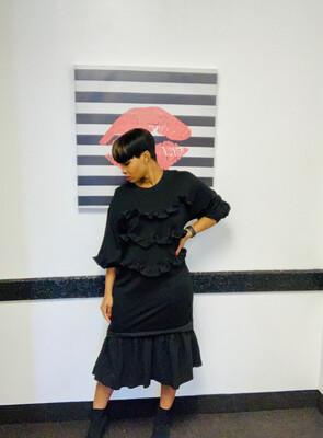 Black Sweatshirt Dress Peplum Dress
