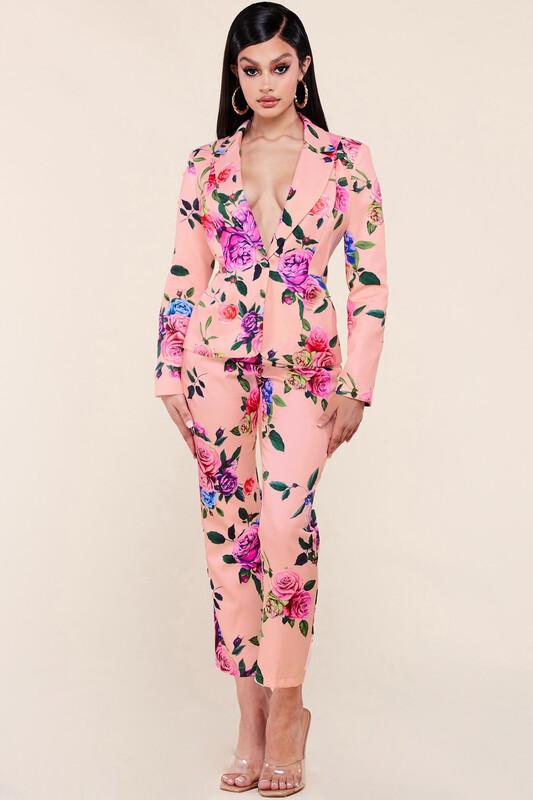 Pink Floral Suit
