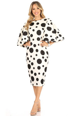 White Polka Dot Print Dress with Flutter Sleeves