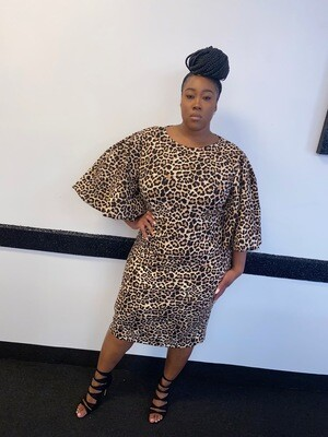 Leopard Dress With Flutter Sleeves