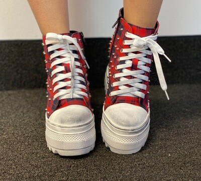 Red High Top Plaid Sneakers