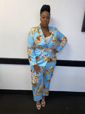 Sky Blue Floral Suit