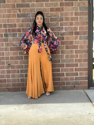 Orange Peel Satin Wide Leg Pants