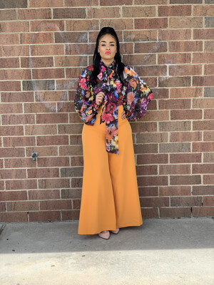 Orange Peel High Waist Wide Leg Flare Pants